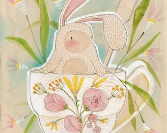 Easter Spring Bunny Art Print 8 x 10 watercolor illustration Animal Themed Nursery Baby Room Seasonal Decorating Ideas, Cori Dantini