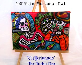 SALE! La Afortunada - The Lucky One-Mini Canvas Art Print by Karina Gomez-4 in x 6 in-Wood Easel included-Day of the Dead-Sugar Skull