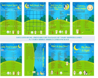 Hey Diddle Diddle Baby Shower, Nursery Rhyme Baby Shower, Over The Moon Shower, Cow Jumped Over The Moon Baby Game - Printables 4 Less