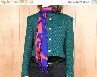 80s Cropped Jacket Green Military Style Officers Coat Jones New York ~ Medium Large