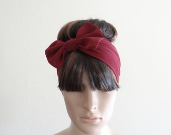 Burgundy Bow Headband. Bow Head Wrap