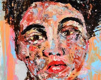 Colorful Digital Wall Woman Art Prints. Palette Knife Woman Portrait Painting Print.  Home Wall Decor.
