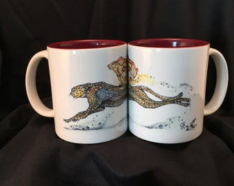 Art Drawing Ceramic Coffee Cup, Cheetah, Bunny Rabbit, White/Maroon 2-Tone Mug Rhino Coated Deco Mug Item #485012669