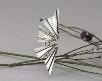 Ascend Handmade bracelet, Triangle brcelet, Geometric design, Green gemstone, Purple gemstone.
