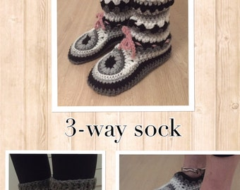 3-way-sock crochetpattern (Engl)