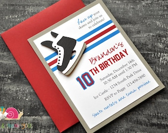 Hockey Birthday Party Invitations · A2 LAYERED · Red White and Blue · Team USA   NHL Jersey Inspired   Skate Party