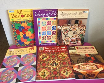 """Lot of 6 Quilting Books by the """"That Patchwork Place"""" Seasons Applique Buttons"""