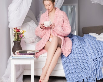 100% Merino Wool Chunky Cardigan, Chunky Knit Cardigan,  Oversize Cardigan, 30+ colors