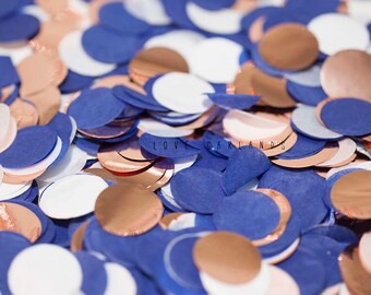 Navy White Rose Gold Round Confetti, Navy Rose Gold Circle Confetti, Wedding Confetti, Rose Gold Confetti, Balloon Confetti, Round Confetti