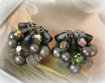 vintage beaded cluster earrings . shades of gray art glass with vitrail crystals clip on earrings