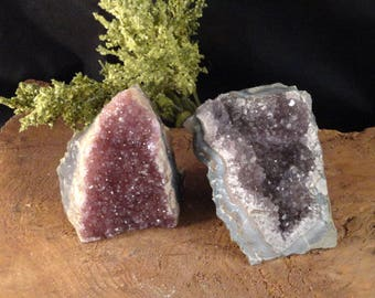 Raw Amethyst Druse ~ Amethyst Geode with Cut Base ~ Deep Purple Amethyst Reiki Healing Crystal ~ Light Purple Amethyst Standing Crystal