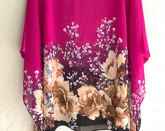 Pink Garden Poncho Top