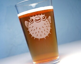 Puffer Fish pint glass - spiny porcupine fish