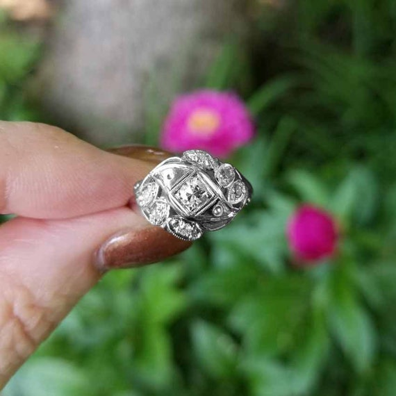 Vintage Art Deco 14k white gold .33 carat diamond bypass dome style ring, size 6, engagement ring, bridal, cocktail ring