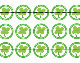 "4 Leaf Clover 1 Inch Bottle Cap Image- St. Patrick's Day Bottle Cap Image-  4"" X 6"" Digital Image- Instant Download"