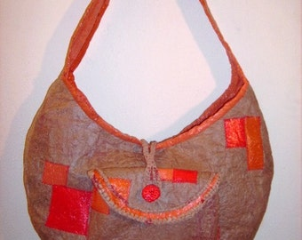 Recycle Fused Plastic Hobo Bag  Natural Brown with Orange and Red