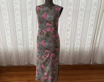 Floral cotton maxi dress // 60s Hawaiian cotton shift dress