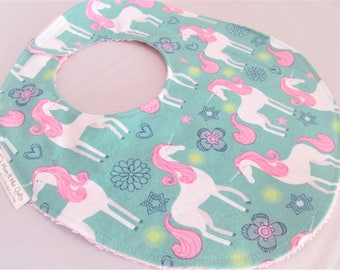 Baby Girl Bib - Toddler Girl Bib - Unicorns in Pink on Aqua - Designer Cotton Bib with Terry Cloth Backing