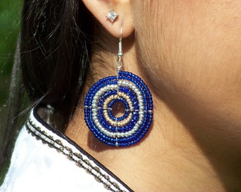Maasai Blue and Silver Earrings (Small)