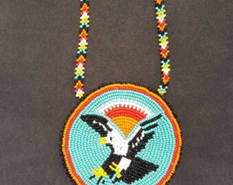 Native American turquoise Eagle beaded necklace