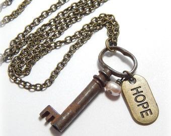 Antique Skeleton Key Necklace,  Vintage Skeleton Key Necklace, Vintage Key Necklace, Charm Necklace, Brass Necklace, Upcycled Necklace