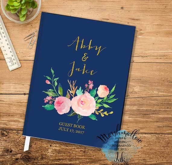 Wedding Guest Gift Ideas: Guest Book Wedding Gift Ideas Gold And Navy Guest Book