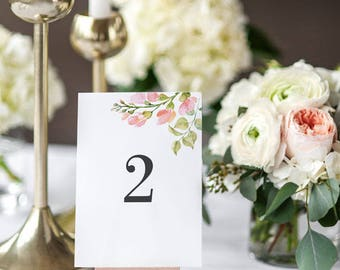 Instant Download Printable Table Number Cards - Pastel Blooms Table Signs - Wedding Table Numbers Printable - 1 to 20 - (Item code: P220)