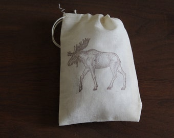 Set of 10 Hand stamped Moose Drawstring Bags Muslin Party Favor Bags Eco Friendly 100% organic