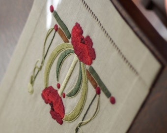 Roycroft Artisan Embroidery Kit for the Poppies Table Scarf, Craftsman, Mission, Arts and Crafts Style