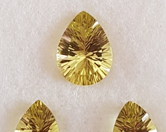 3 Pieces of GREEN GOLD PEARS Fact conclave cut