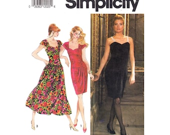 90s Drop Waist Dress Pattern Simplicity 7619 Pleated Strap Dress Gathered or Wrap Skirt Dress Womens Sewing Pattern Size 12 14 16 UNCUT