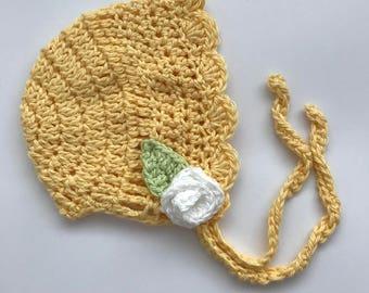 Baby girl hat, vintage style baby bonnet, newborn hat, crochet hat, baby hat, lemon yellow, photo prop - READY TO SHIP
