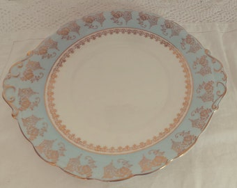 Stunning Vintage Baby Blue and Gold English Bone China Cake Plate - Perfect for afternoon, vintage tea set