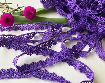 Cotton Purple Lace Trim, by the yard, kids fashion trim, women fashion trim, purple trim, Cotton Trim, 1.5 cm wide, sewing trim, edging trim