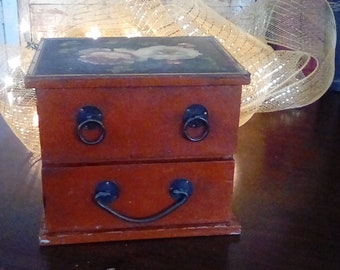 Painted Primitive Box With Two Drawers