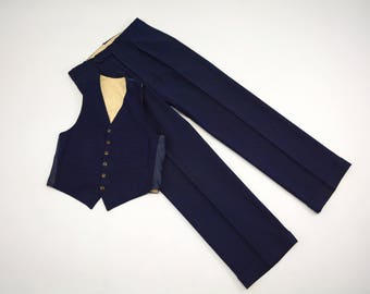 1930s - Vest and Trousers Set - Navy Blue with True Blue and Rust Overcheck - True Vintage