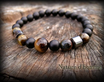 Jewelry men - men's Tiger eye, hematite and onyx Ref Bracelet: BN-511