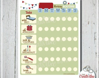 Morning Routine Chart | Daily | EDITABLE NAME | Printable Morning Chart | Blue Chart | Routine Chart | Boy | Chore Chart