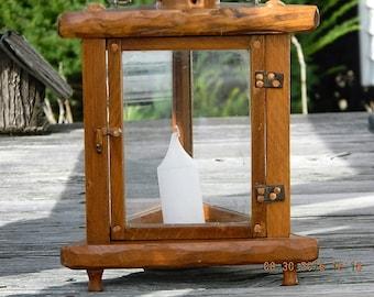 Wood Candle Lantern, Tabletop Candle Lantern, Candle Lantern with Smokestack, Rustic Lighting, Vintage Lighting
