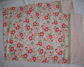 Pillowcases set.  Standard size//Handmade-pink flowers