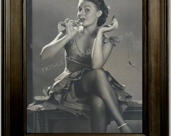 Gil Elvgren Pin Up Girl Art Print 8 x 10 - Painting Reference Photo - Pinup Putting on Lipstick - Rockabilly