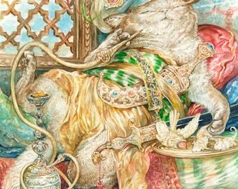 Purrsian Pasha (print) cat royalty decadent harem relaxing hookah
