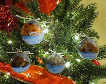 Slumbering Winter Animals Hand-Painted Gourd Ornament - Set of 4 - Blue