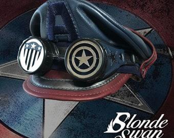 NEW!!! Dark Captain America Inspired Crush Cap & Goggles
