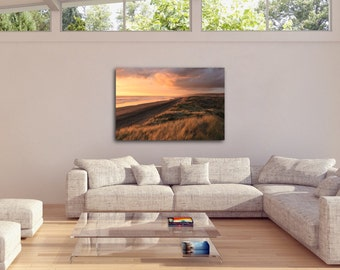 Golden Sunset Beach and Grass Scene, Home Decor, Wall Print, Ultra High Quality, INSTANT DOWNLOAD!