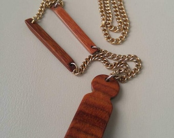Mid century teak necklace / gold plated chain / teak spacers