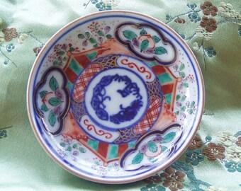 Antique Sho-chiku-bai Chinese  Miniature Hand Painted  Dish