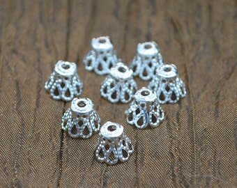 Fancy Tibetan Bead Caps, Filigree, Choice of Antique or  Silver Plated, 12g, approx. 100 pcs., Wholesale