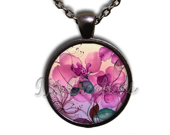Flowers Pink Hues Glass Dome Pendant or with Chain Link Necklace NT134