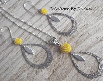 Oval ornament with prints / drop with a yellow rose necklace and earrings